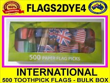 International toothpicks flags includes USA Italy UK Australia France 500 BULK
