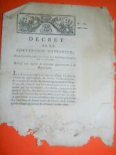 245-REVOLUTION 1793 Décret relatif aux dépôts de CHEVAUX appartenant à la Républ