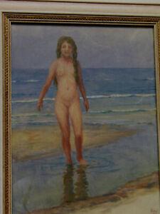 Magnus Weidemann 1880 - 1965 Gouache Aquarell Mädchen Akt am Strand Sylt 1922