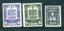 3 different Mint Canada Tobacco/Snuff Revenue Stamps (Lot #RR87)