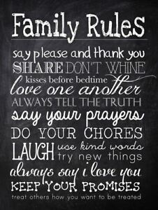 Metal sign Retro vintage chalk Family rules home kitchen tin wall art plaque a5