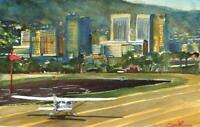 Santa Monica Airport  :  Signed LE Art Print : Sandra Watercolors California