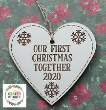 WOODEN engraved our first Christmas together Heart decoration bauble handmade