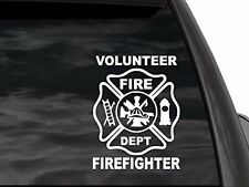 "Volunteer Firefighter Truck Car or Suv window decal sticker 8""x6 in white"