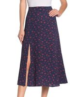 Abound Women's Skirt Blue Size XXL A-Line Floral Printed Side-Slit $32 292