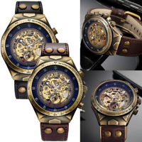 Mens Automatic Watches Mechanical Skeleton Bronze Steampunk Self Winding Watch