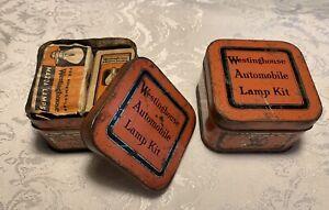 2 Vintage Westinghouse Automobile Mazda Lamp Kit Tins with 2 bulbs