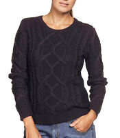 Ladies Black Cable Cotton Long Sleeved Jumper In UK Plus Sizes 16-26/EU 42-52