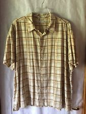 Geoffery Beene Mens Shirt Tan Gold Black Plaid  Short Sleeve Sz 2XL