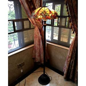 Tiffany Style Torchiere Floor Lamp Brown Jewels Stained Glass Shade Bronze Base
