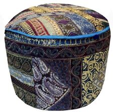 "25"" ETHNIC SEQUIN SARI BEAD MOTI FURNITURE OTTOMAN BENCH STOOL POUF PILLOW COVER"