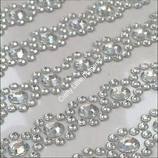 855 x 6mm & 3mm CLEAR Rhinestone Diamante Self Adhesive Decorative STRIP GEMS