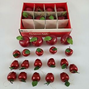 Vintage Sears Christmas Ornaments 3D Apples Large and Small Red Lot of 24