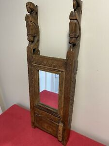 Antique Tramp Art Frame With Mirror Hanging Cupboard