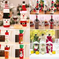 Merry Christmas Santa Elk Wine Bottle Cover Bag Xmas Dinner Table Party Decor