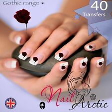 40 x Nail Art Water Transfers Stickers Wraps Decals Gothic Blood Rose