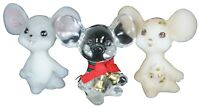 """3 Fenton Art Glass Mice Mouse Figurines Christmas Buttercream Gray Signed 3"""""""