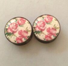 Rose Acrylic Plugs 8mm-20mm Pair of Chinese Pink Art