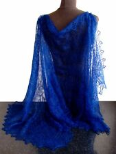 ETOLE BLEU Chale bleu Idée Cadeau Femme, Etole bleu tricotee main Orenbourg