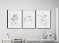 3 Prints Princess Girl Fairy Tale Nursery Wall Art Bedroom Decor Pictures