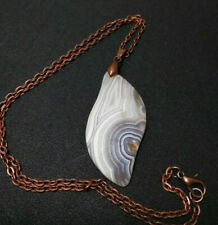 Necklace  White and Gray Banded Agate Pendant  Copper Chain for Men or Women