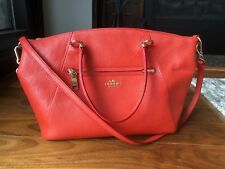 Coach Prairie Satchel/Crossbody- Pebble Leather in Deep Coral