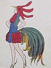 Travestis Le Coq  Maggy Monier  Rare pochoir Art-Déco 1925 plumes ergots déguisé