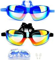 2 Packs Swimming Goggles UV Protection Anti Fog Mirror Glasses w Ear Plug Adult