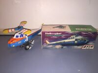 Vintage Tin Mechincal Wind Up Helicopter Helicoptere Toy Clockwork With Box