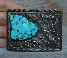 Stunning Vintage Native American Navajo Sterling Silver Turquoise Belt Buckle