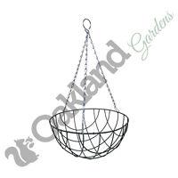 "6 x 12"" Wire Hanging Basket 30cm Round Bottom Baskets Metal Coated Green Planter"