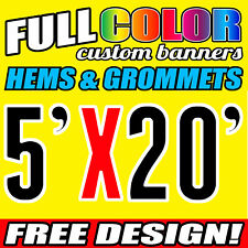 Custom 5' x 20' FT Banner 16oz Vinyl/Flex Outdoor premium Quality Advertise Sign