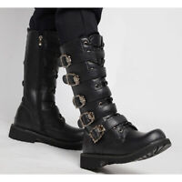 Mens Military Army Mid Calf Combat Boots Buckle Strap Lace Up Shoes Gothic Punk