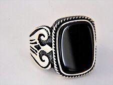 Turkish Ottoman Black Agate Gemstone  925 Sterling Silver Ring Mens ring