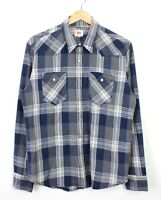 Levi's Mens Blue Checkered Popper Button Long Sleeve 100% Cotton Shirt - L