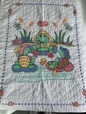 Vintage Hand Embroidered Baby Blanket Frogs Turtles at the pond , so cute!