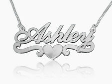 Ashley Name necklace, heart neckless nameplate neckalce, Sterling silver pendant