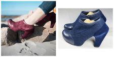John Fluevog Balthazar Voyageur Womens Shoes Pump Heel 7 Leather Wool Platform