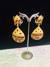 Indian Bollywood Jumka Jumki Diamonte Drop Earring Chains antique gold colour