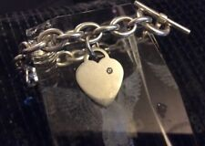Solid Sterling Silver Heart Padlock Bracelet with Safety Chain