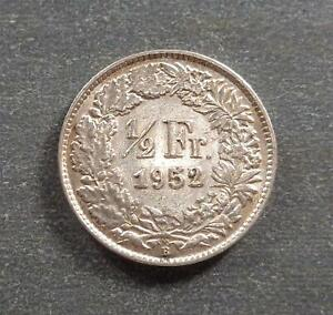 Switzerland, Silver 1/2 Franc, 1952, toned