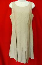 3ef0fec982c CALVIN KLEIN Womens Tan Brown Khaki Linen Pleated Skirt Fit N Flare Dress 8  M