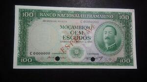 "Portugal Mozambique 100 Escudos 1961 ""SPECIMEN"" P.109s UNC RARE (No Overprint)"