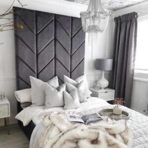 50-70 inch Extra Tall Chevron Plush Velvet Fabric Floor Standing Bed Headboard