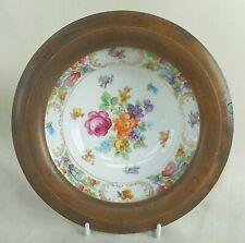 More details for vintage schumann dresden porcelain wall plate with hard wood frame - unusual