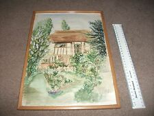 ORIGINAL FRAMED SIGNED DATED WATERCOLOUR  BEAMED COTTAGE AND GARDEN K L BIRCH 56
