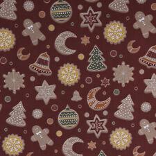Baumwollstoff GOTS Bio Popeline Weihnachten Plätzchen braunrot bunt 1,50m Breite