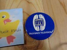 Vintage Pinback Button UTV TALK BACK TELEVISION Cable TV Memorabilia