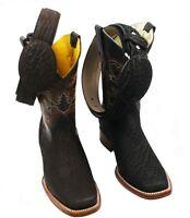 Men's Genuine Bull (Toro) Leather Cowboy Western Rodeo Toe Boots -Free Belt