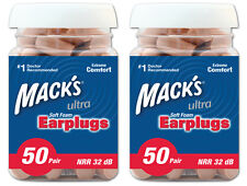 MACKS (MACK'S) ULTRA 32DB FOAM EARPLUGS 50 PAIR JAR TWIN PACK 100 PAIRS